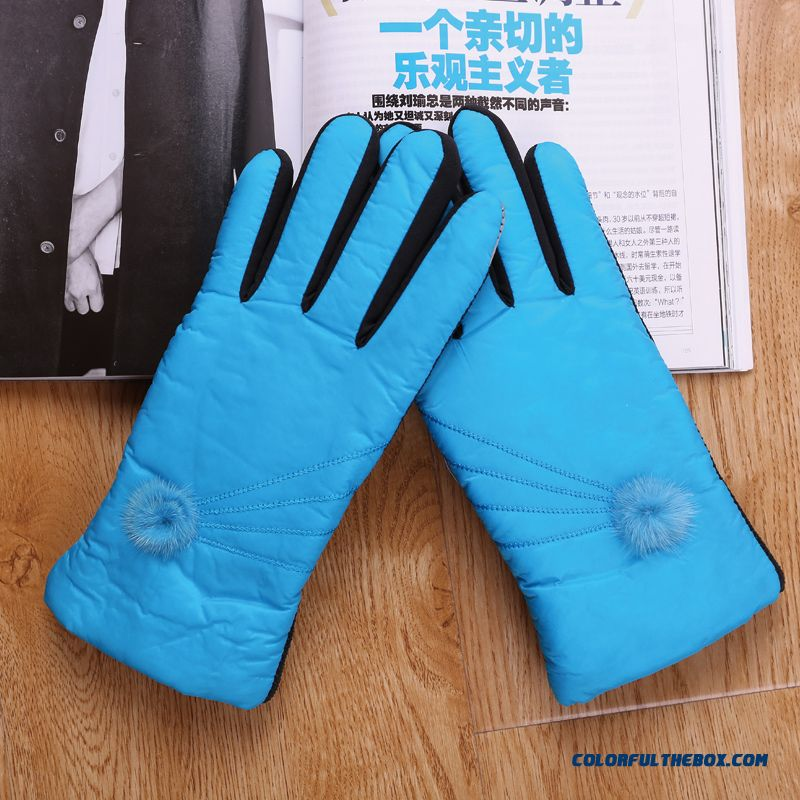 Lady Free Shipping Women Hairball Warm Winter Riding Cotton Gloves & Mittens Accessories
