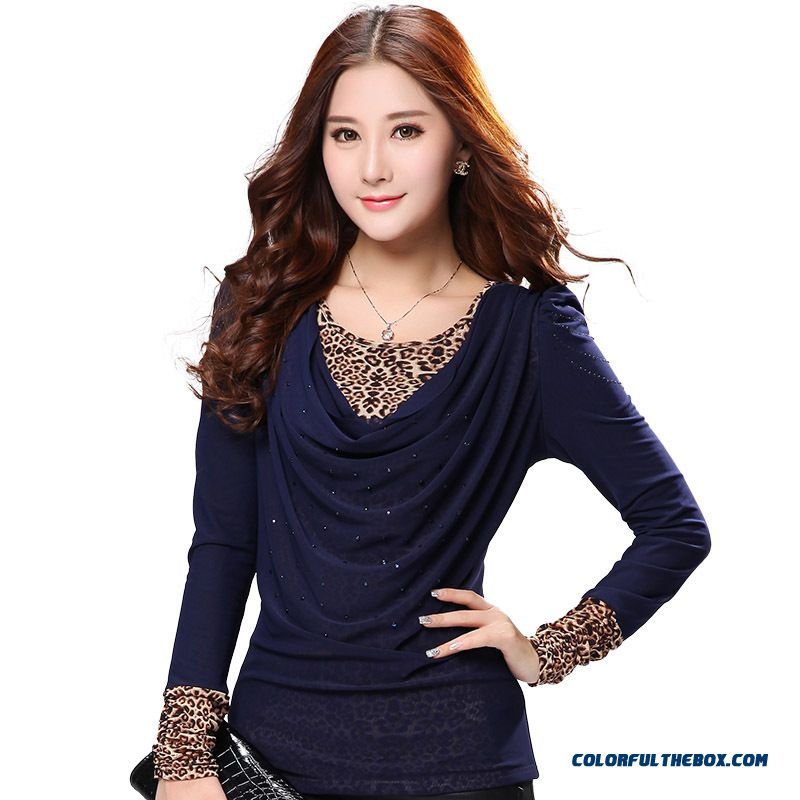 Large Size Women Loose T-shirt Plus Velvet Leopard Korean Long-sleeved Gauze Bottoming Clearance