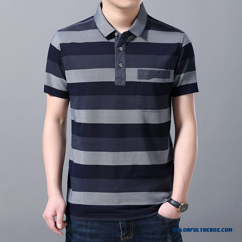 Leisure Half Sleeve Men's Stripes T-shirt New Short Sleeve Gray Summer