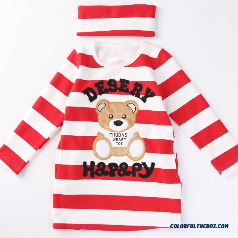 Lovely Girls Kids Thick Add Velvet Primer Shirt T-shirt Bear Pattern Medium-long Stripe