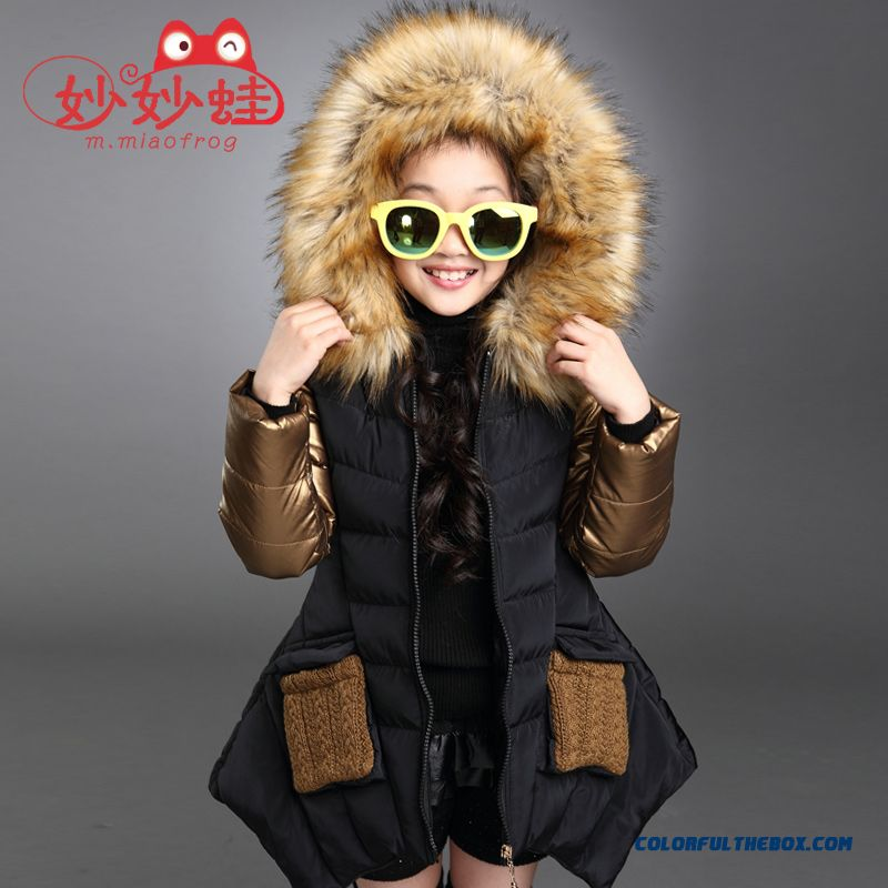 Medium-long Fashionable Big Girls Personality Irregular Hem Cotton Coats Jacket Black Cloti=hing For Kids