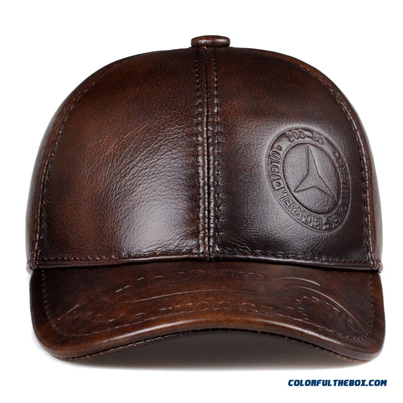 Men s Accessories Genuine Leather Hat Elderly Peaked Cap Ear Protection  Baseball Cap Free Shipping ... 482e76b46e8c
