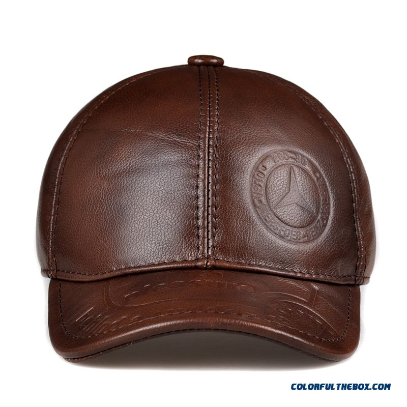 ... Men s Accessories Genuine Leather Hat Elderly Peaked Cap Ear Protection  Baseball Cap Free Shipping ... ce6b8db2baae