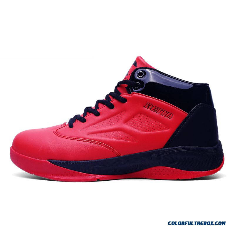 Men's Basketball Shoes Comfortable Breathable Black And Red Color