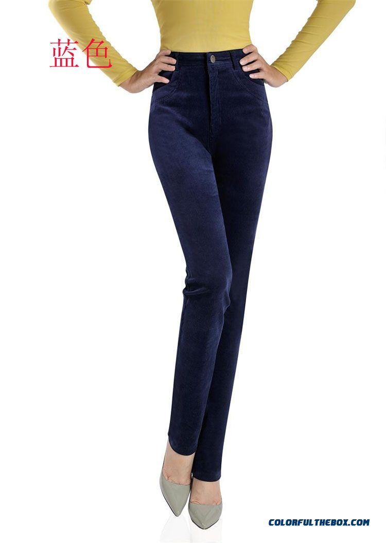 Cheap Middle Aged Women Straight Corduroy Pants High Waist