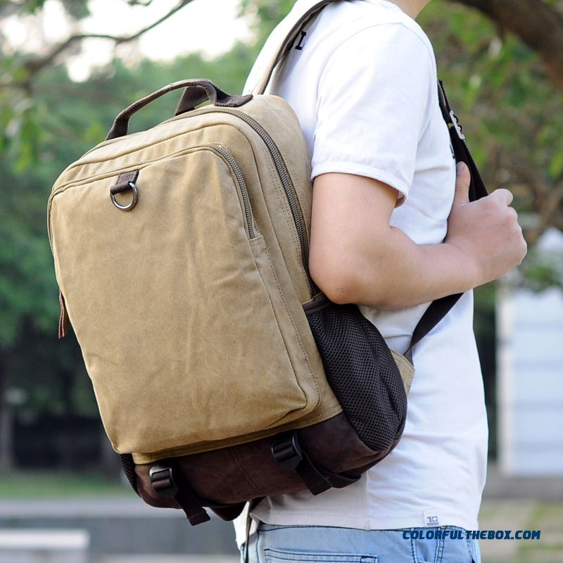 Most Favorited By Young Men Korean Version Of Canvas Belt-buckles Backpack