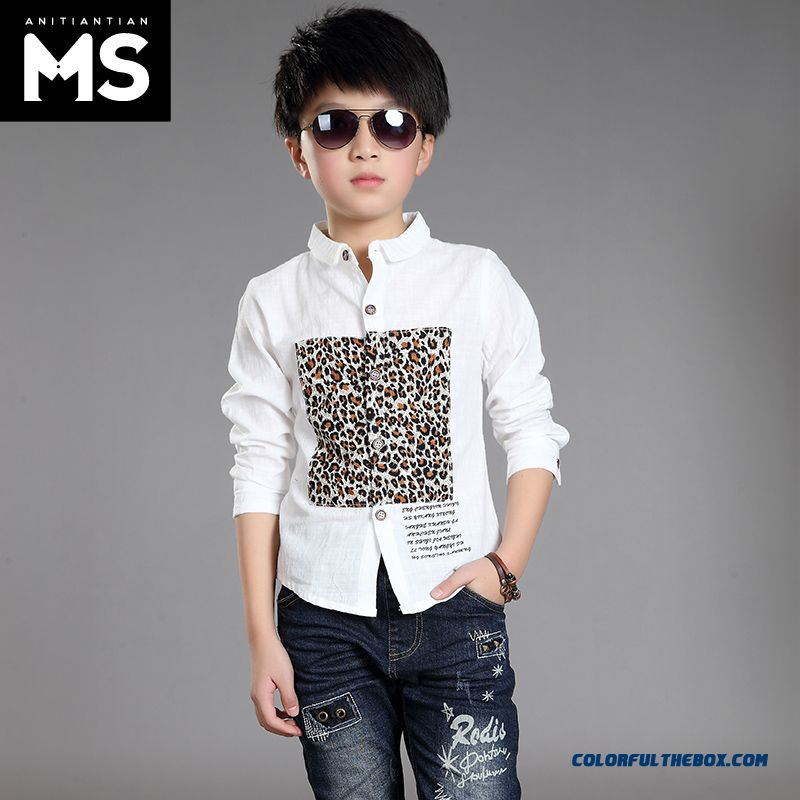 New 2015 Boys Kids Long-sleeved Leopard Patten Shirt Bottoming Shirt 10-12-13-15 Years Old