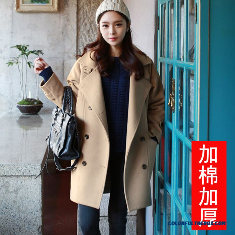 New Autumn Winter Women Woolen Coats Slim Light Tan Red Wine Lapel Large Size