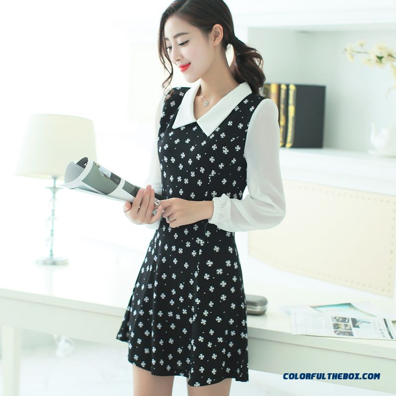 New Autumn Women Dress Long Sleeve Sweet Slim Popular In Europe And America
