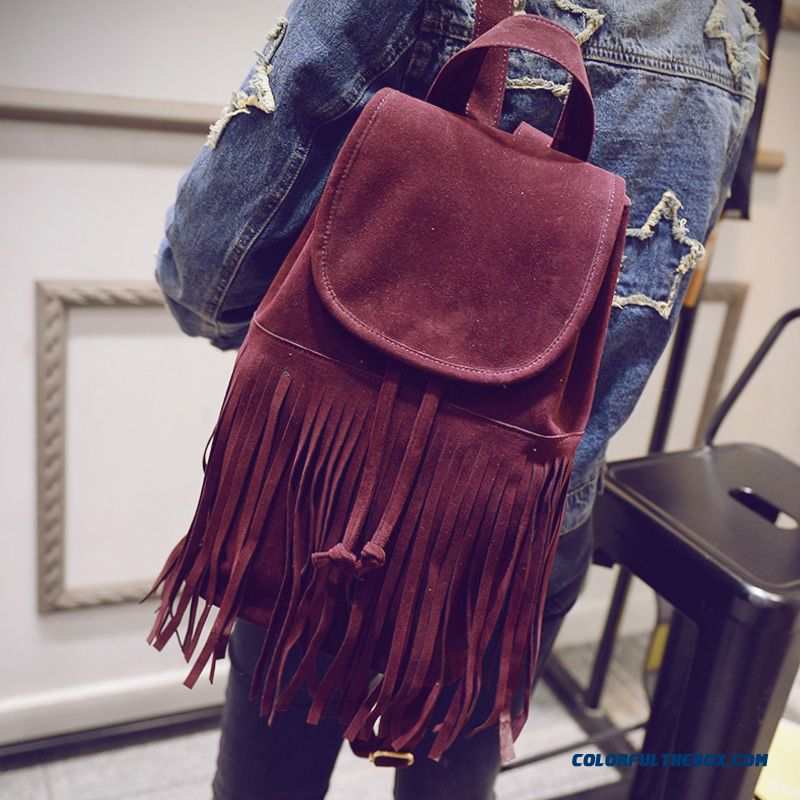 New Fall Nubuck Leather Retro Schoolbags College Style Fringed Bag For Women