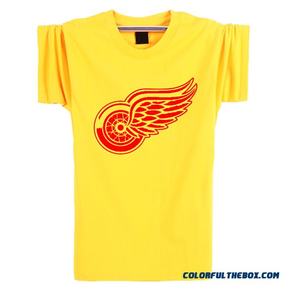 71561982d00 Cheap New Fashion Summer 2016 Detroit Red Wings T-shirt Cotton Big   Tall  Logo Wings Hockey Short Sleeve Hip Hop Tshirt Men Camisa Sale Online