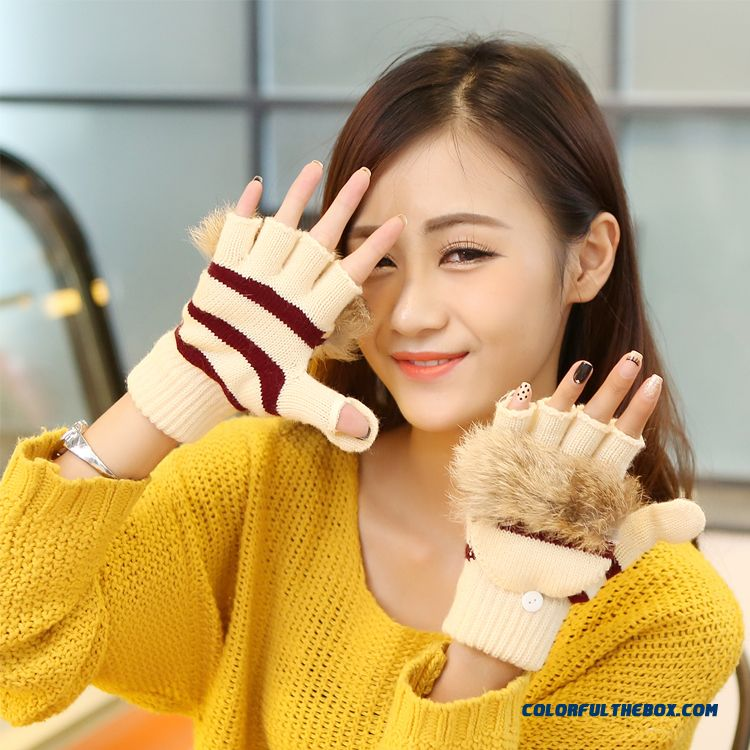 New Men And Women Winter Half-finger Clamshell Touch Screen Mittens Student Lovely Wool Gloves