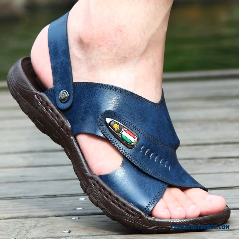 New Men Summer Sandals Leather Open Toe Beach Breathable Shoes Tide