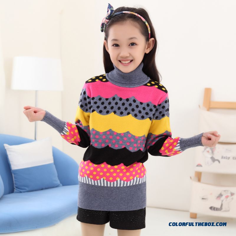 New Princess Girls Big Kids Sweater Girls Bottoming High Collar Shirt Bottoming Korean Version Of Sweet Clothing