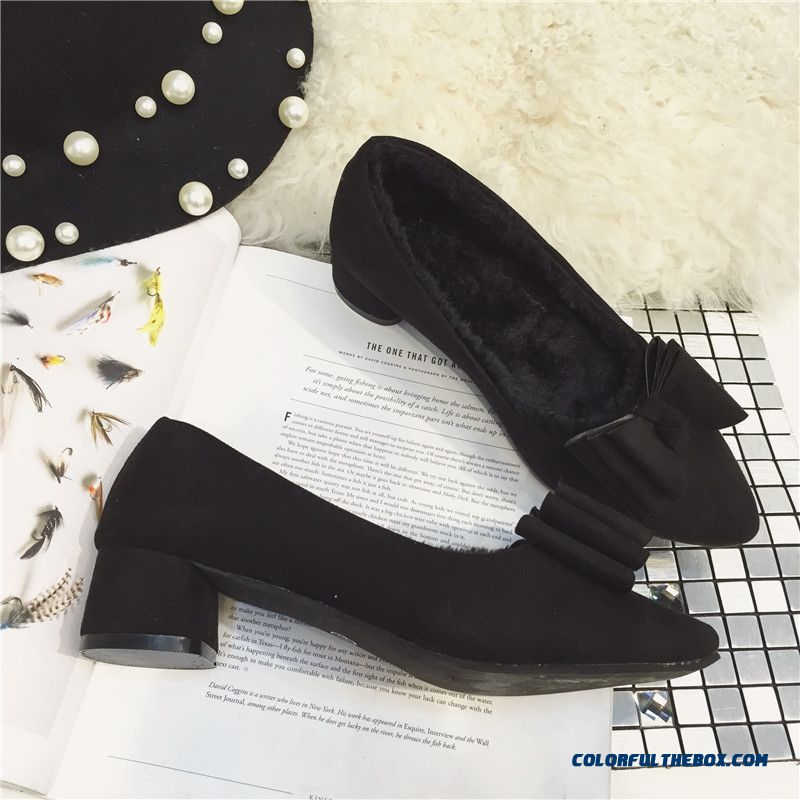 New Pumps Suede Rough Heel Shallow Mouth Bow-tie Decorative Pointed Girls Black Shoes