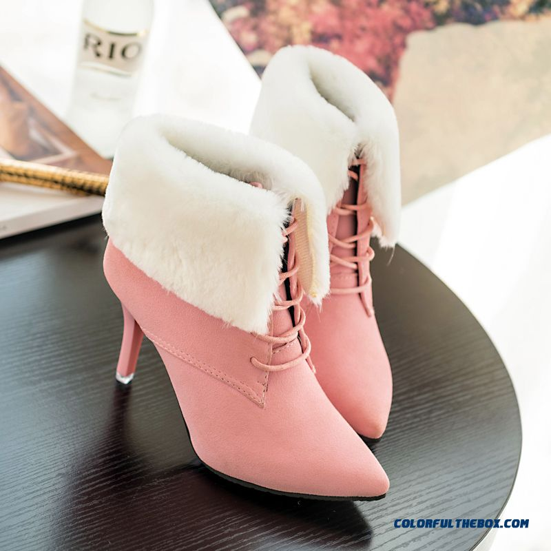 Cheap New Winter Boots Nubuck Leather Lace Pointed Fine Heel For ...