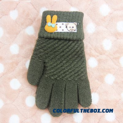 New Winter Boys And Girls Kids Five Fingers Warmth Gloves Cute Gloves Winter Models Cartoon Baby Knitted Gloves