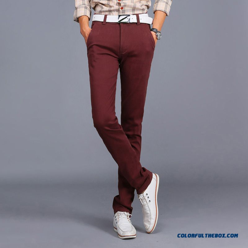 New Winter Casual High Elastic Thick Cotton Business Casual Long Pants Men Tide