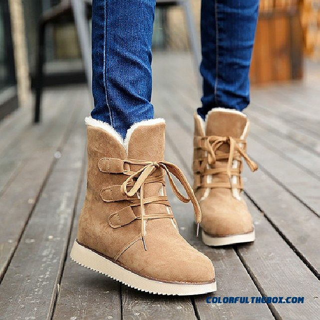 Cheap New Winter Snow Boots Women Short Flat Bottom With Lace Warm ...