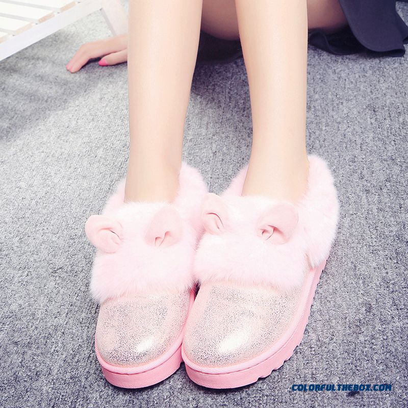 New Winter Thick Warm Women Shoes Heavy-bottomed Flat Boots With Rabbit Ears