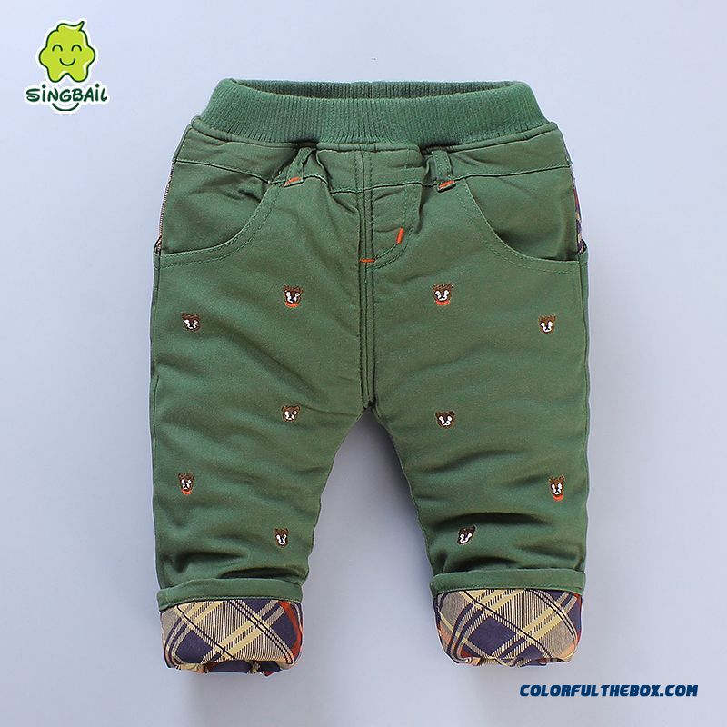 Newest Designe Keep Warm Kids Long Pants Thicker 0-1-2-3 Years Old Boys Clothing