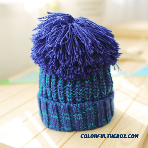 Newest Parent-child Design Oversized Hair Ball Wool Cap Boys And Girls Knitted Kids Hats Free Size