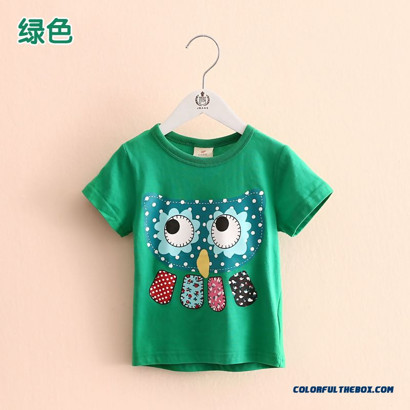Owl Girls Children's Clothing Baby Kids Casual Short-sleeved T-shirt Green