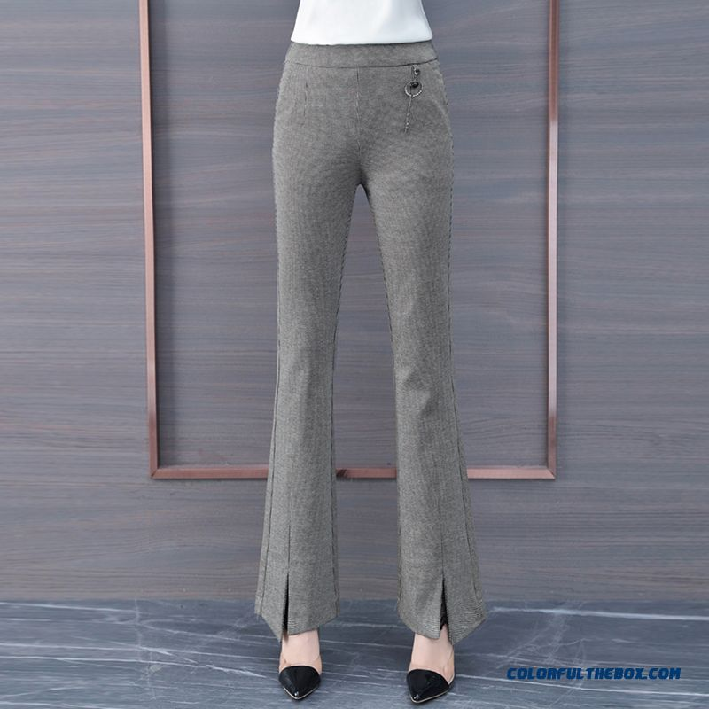 Pants High Waist Trousers Khaki Pants New All-match Slightly Autumn Bell-bottoms Leisure 2019 Thin Europe Women's Spring