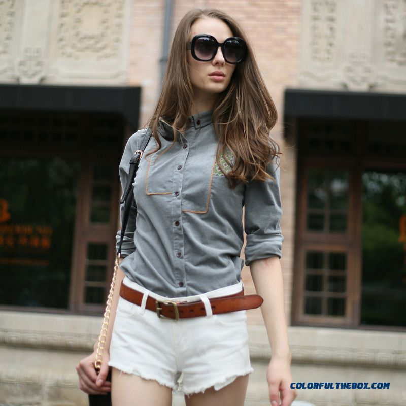 Retro Fashion Long-sleeved Corduroy Shirts Women Navy Blue Gray Red Wine