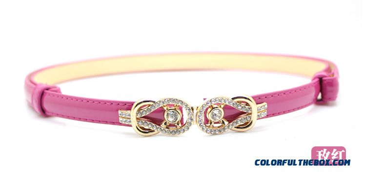 Rhinestone Buckle Candy Colored Patent Genuine Leather Thin Belt Ladies Women Accessories