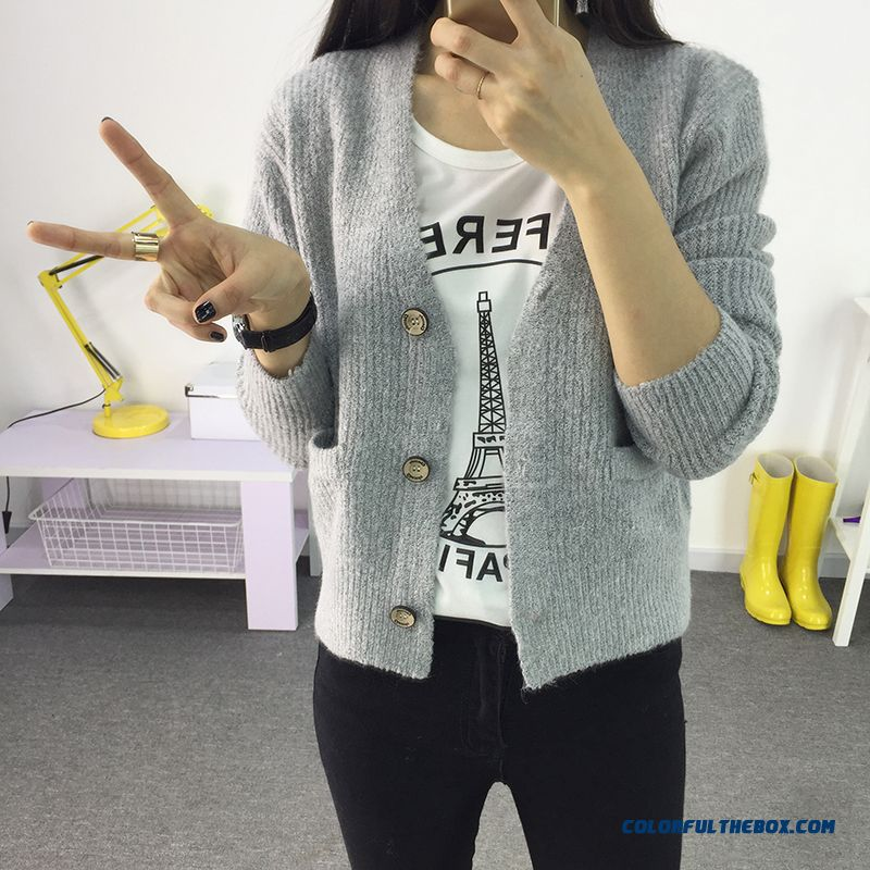 Cheap Short Cardigan For Women Lady Sweater Loose Coat Color Grey ...