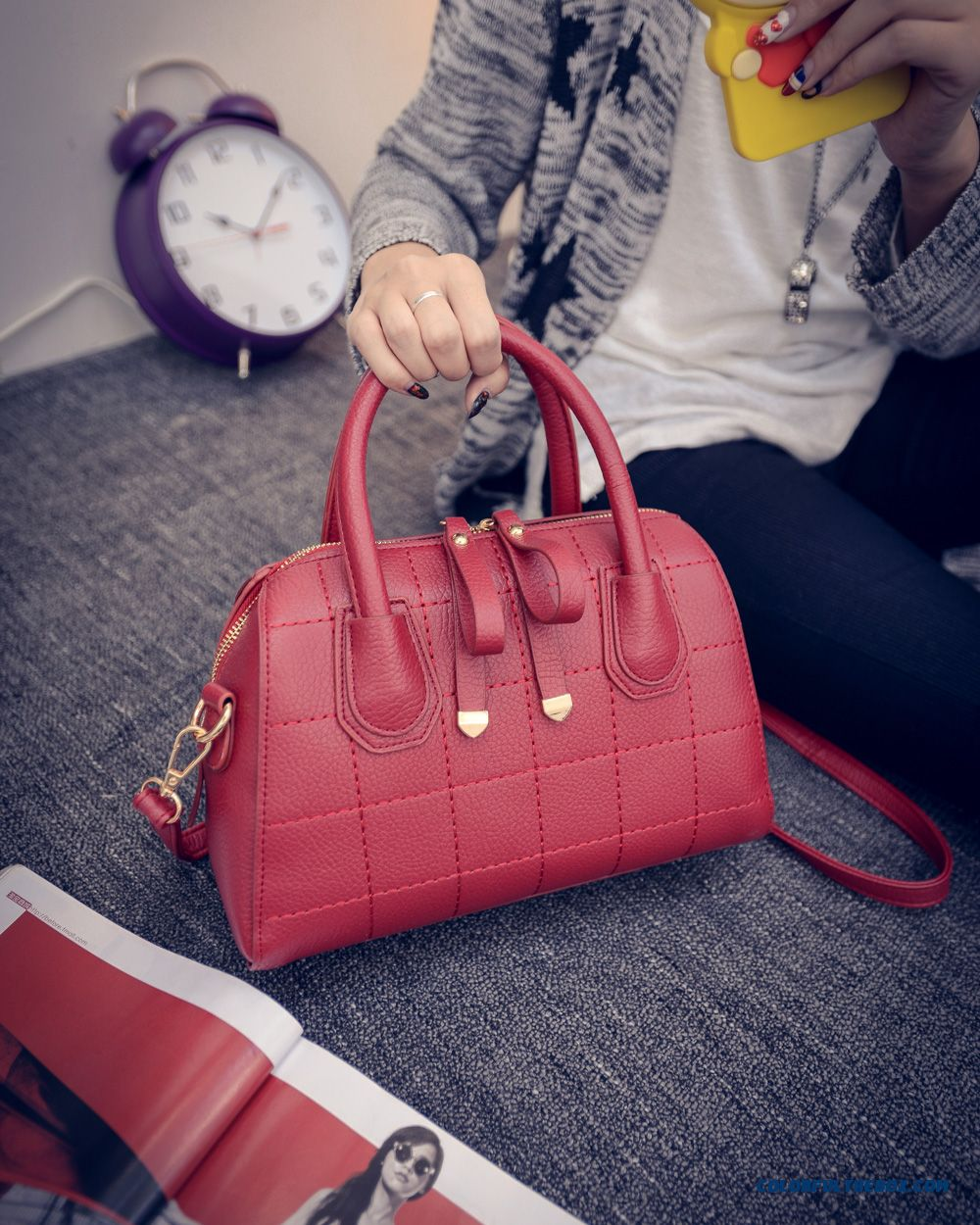 Simplicity Retro Women Bag With Double Zipper Shoulder Bags Chic