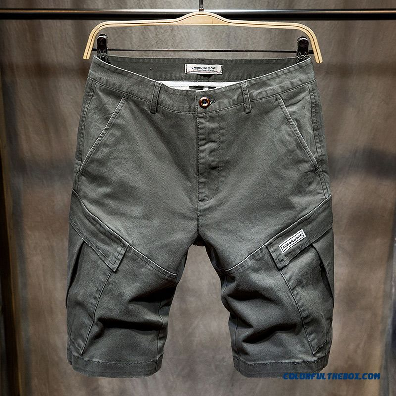 Skinny Loose Gray Trend Men's Large Size Pants Summer Shorts Tooling Multi-pocket Short Pants Leisure