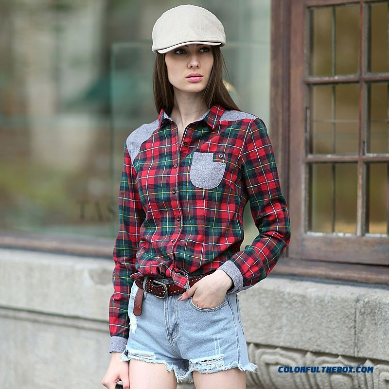 Red check women check blouse koton casual turn blue green for Womens green checked shirt