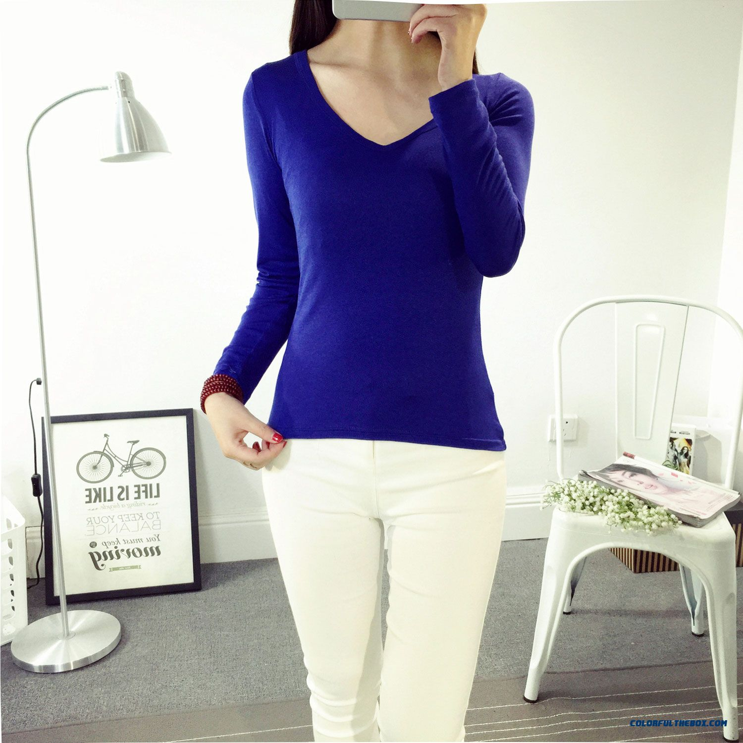 Cheap solid color v neck girls women long sleeve t shirts for Cheap plain colored t shirts