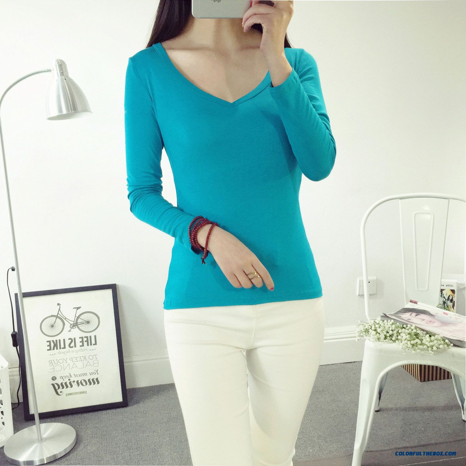 21c777001e9 ... Solid Color V-neck Girls Women Long Sleeve T-shirts Low Price Sale ...