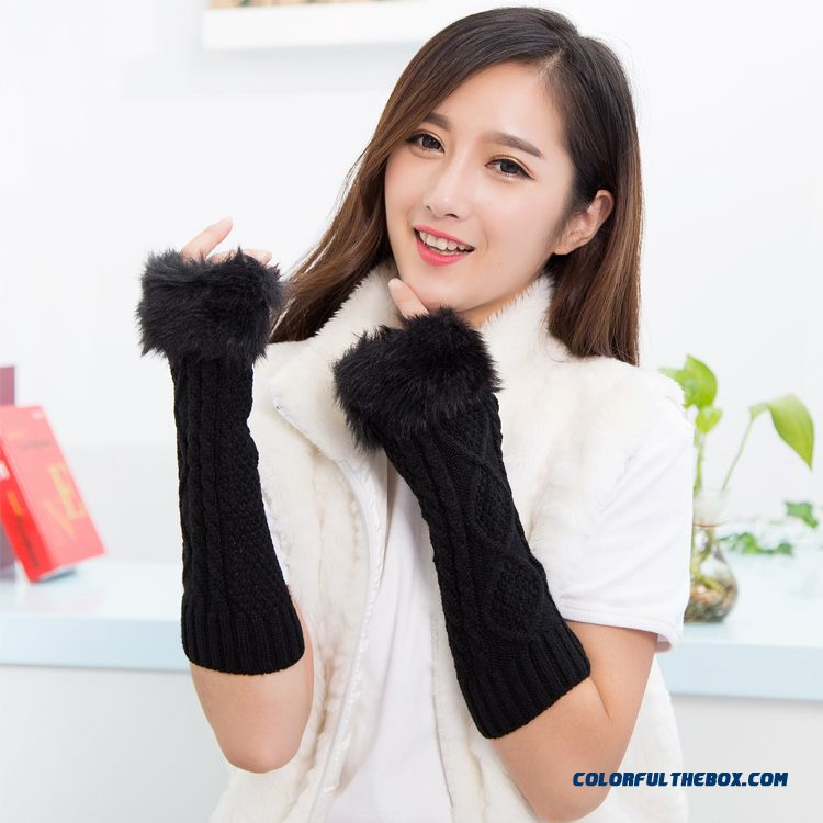Special Clearance Free Shipping New Winter Long Kinted Girl Young Women Mittens & Gloves
