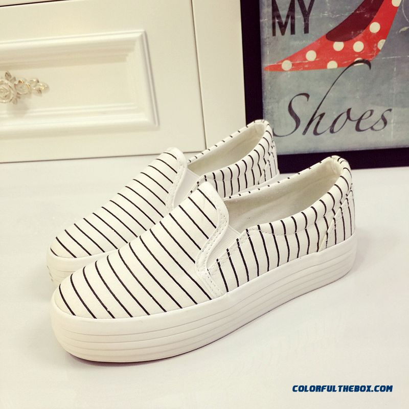 Special Offer Vogue Flat Thick Bottom Canvas Striped Casual Women Shoes