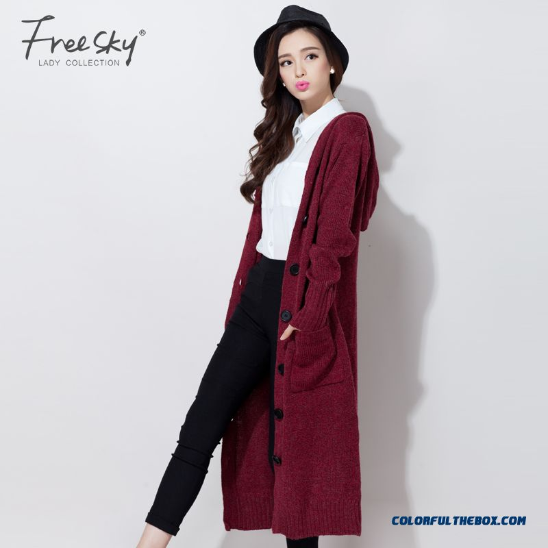 Cheap Spring Autumn Long Cardigan Women Sweater Coat Jacket Size S