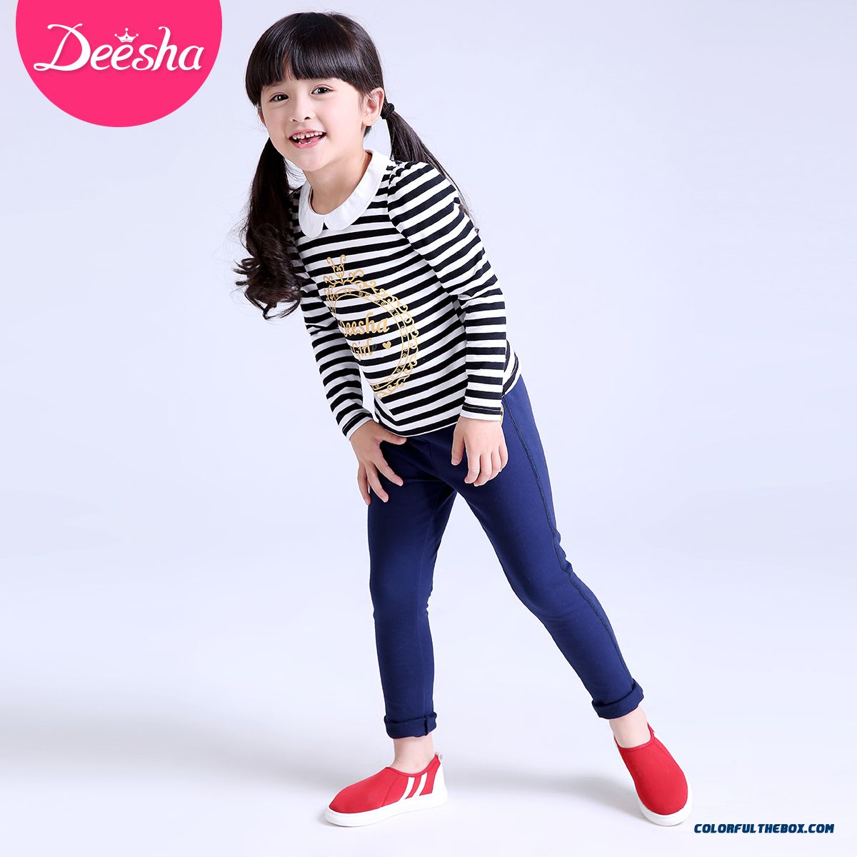 Spring Models Love Stamp Long Pants Pants Thin Kids Clothing For Girls