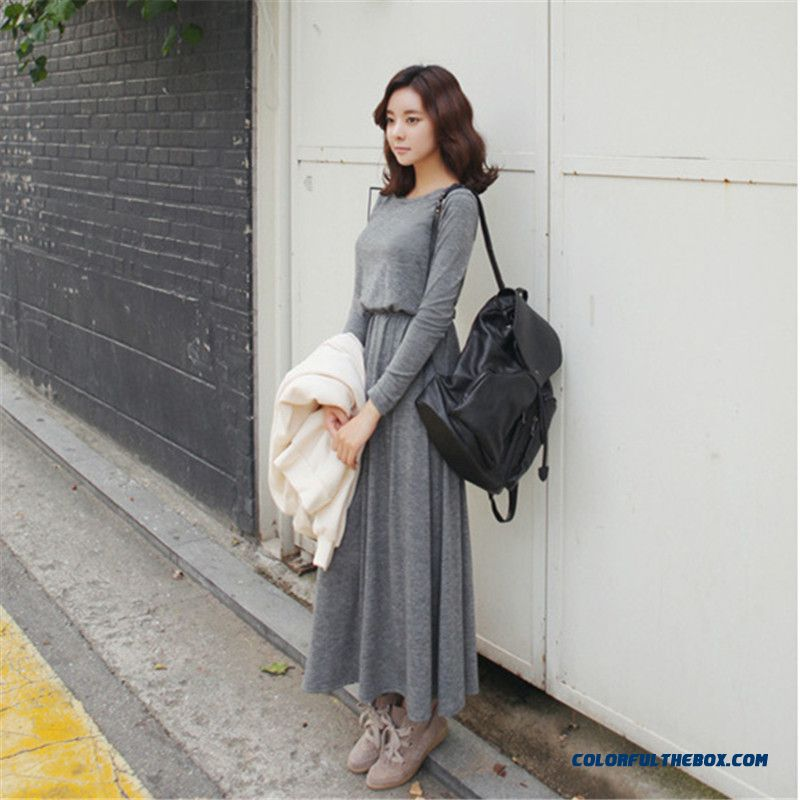Suitable For Any Body Backless Long-sleeved Long Dress Women Temperament Casual Dress Thin