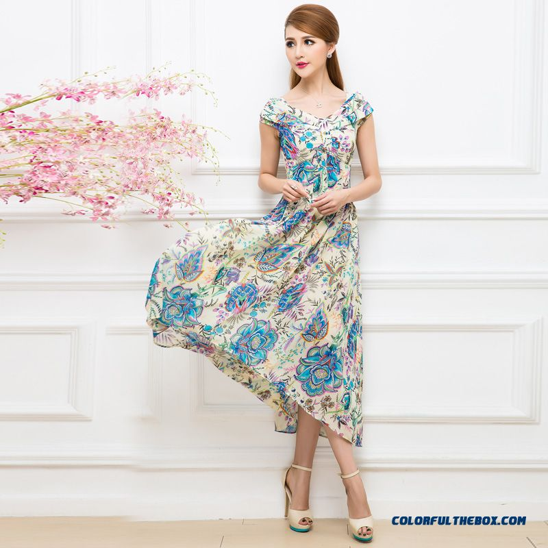 Summer New Korean Style Design Short-sleeved Printed Chiffon Dress Bohemian Long Dress For Women