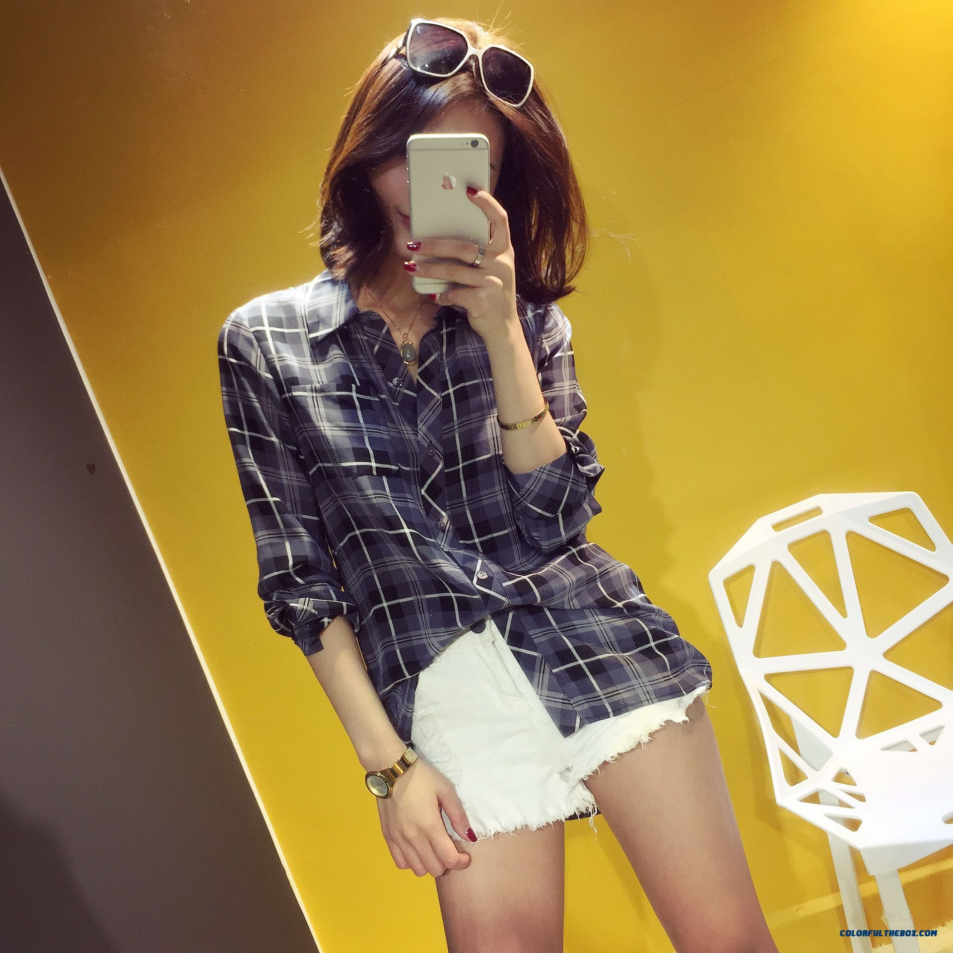 Summer New Women Korean Style Silk Classic Plaid Upscale Boutique Shirt