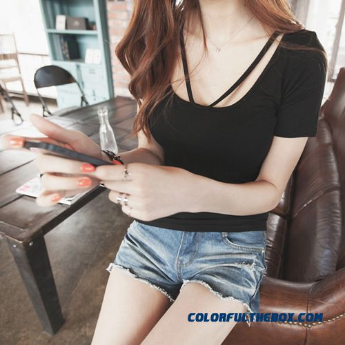 T-shirt Short-sleeved Women Summer Slim Solid Color Large Size Sexy