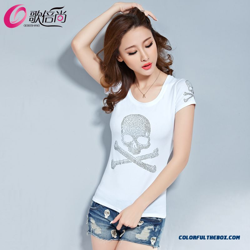 The Finest Quality Diamond Skull Printed Slim Crew Neck T-shirt Tide Women