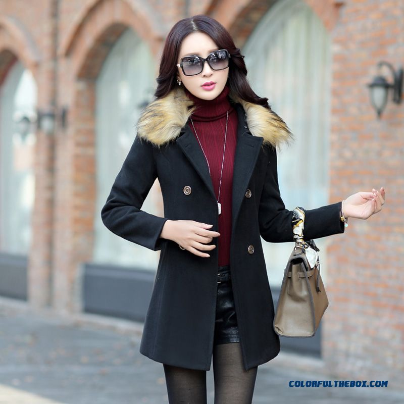 The Latest Fashion Winter Women Fur Collar Woolen Coats Blue Medium Style