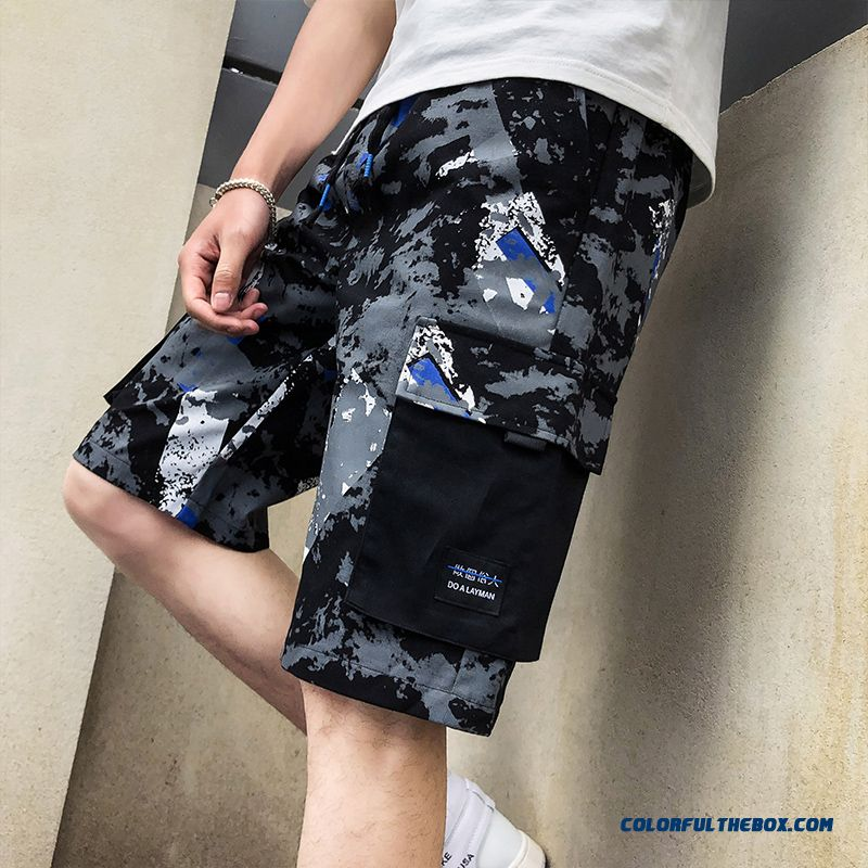 Tooling Europe Loose Trend Sport Black Men's Leisure Pants Camouflage Skinny Shorts Short Pants Beach Summer