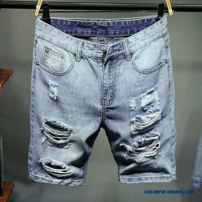Trend Skinny Blue Straight Men's Short Pants Leisure Shorts Summer Hole Loose