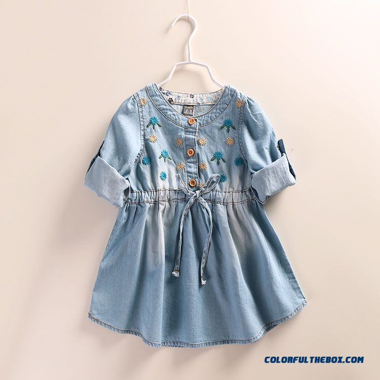 Western Style New Girls Autumn Dress Baby Kids Dual Purpose Sleeve Denim Shirt