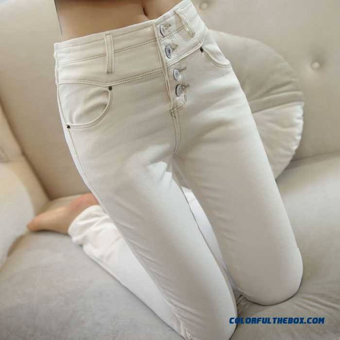 Cheap White Velvet Jeans Women Elastic High Waist Pants Large Size ...